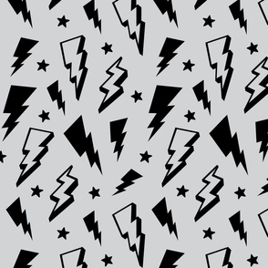 lightning + stars black on light grey monochrome bolts
