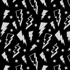 lightning + stars light grey on black monochrome bolts