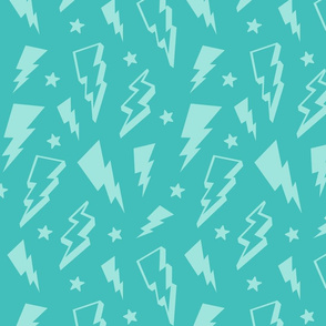 lightning + stars light baby teal blue on teal blue monochrome bolts
