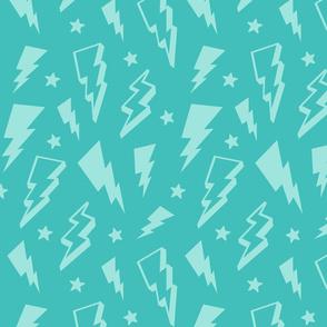 lightning + stars light baby teal blue on teal blue monochrome bolts