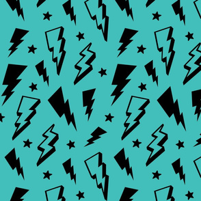 lightning + stars black on teal blue bolts