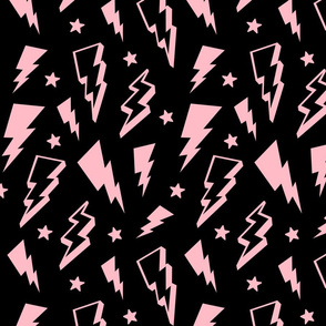 lightning + stars light baby pink on black bolts
