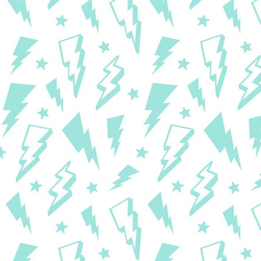 lightning + stars light baby teal blue on white bolts