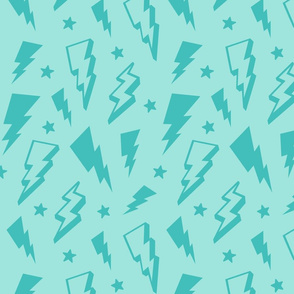 lightning + stars teal blue on light baby teal blue monochrome bolts