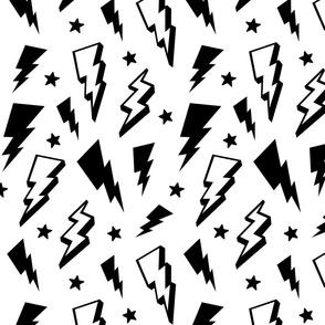 lightning + stars black on white monochrome bolts