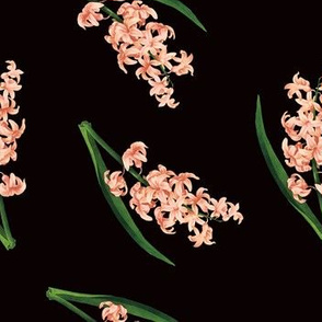 Peach Floral Toss in Black