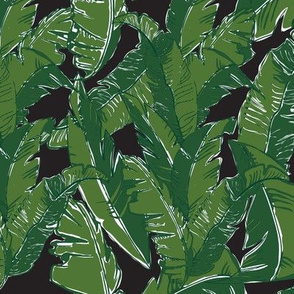 Leaves Bananique in Black Pearl - Small Scale