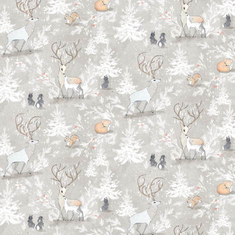 Vintage Woodland Christmas (MICRO) fabric by nouveau_bohemian on Spoonflower - custom fabric