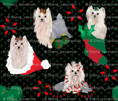 Yorkie - Christmas Panel Matching Fabric