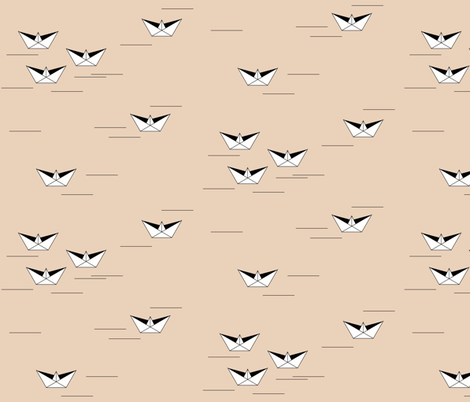 Origami boats - nude pond lake peach sailing geometric boat fabric by sunny_afternoon on Spoonflower - custom fabric