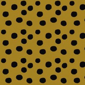 Watercolor dots - black on golden mustard