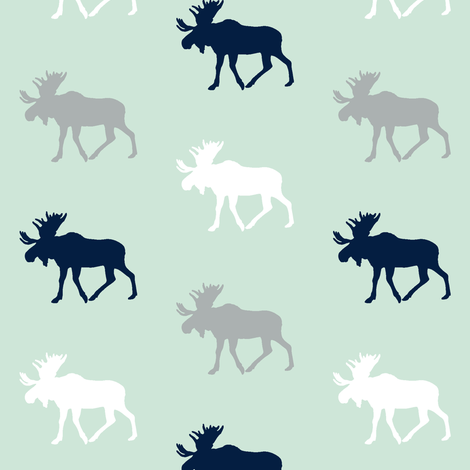 multi moose on mint (small scale)|| the northern lights collection fabric by littlearrowdesign on Spoonflower - custom fabric