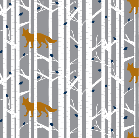 Into the woods -Fox // on grey fabric by buckwoodsdesignco on Spoonflower - custom fabric
