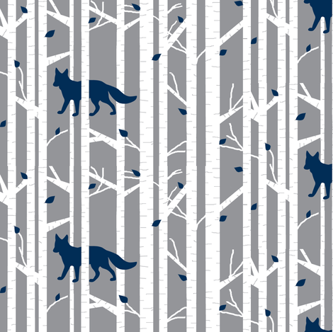 Into the woods - Fox// navy on grey fabric by buckwoodsdesignco on Spoonflower - custom fabric