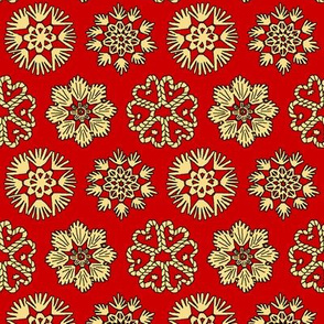 Straw Star Ornaments on Red