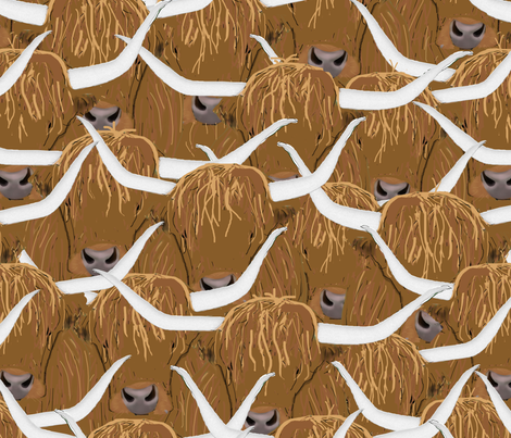 Scottish Highland Cows fabric by amy_hadden on Spoonflower - custom fabric