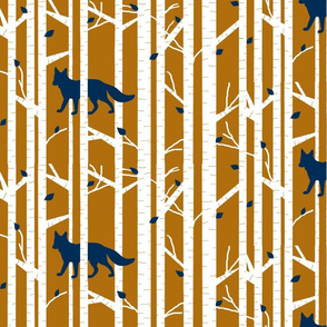 Into the woods - Fox// navy on burnt orange