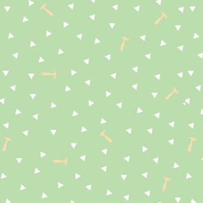 Mint + White Hammer and Triangles
