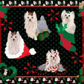 "Yorkie Christmas Quilt Panel 42x36"""