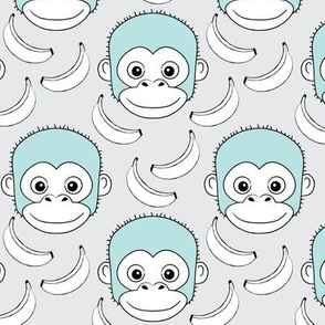 monkey-face-and-bananas - blue-on-grey