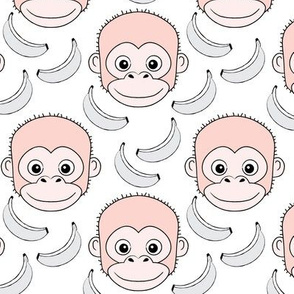 monkey-face-and-bananas---soft pink-on-white