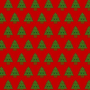 2016 Button Eyed Christmas Tree Red Background
