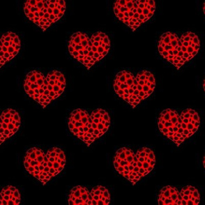 Red Leopard Hearts on Black - matching fabric