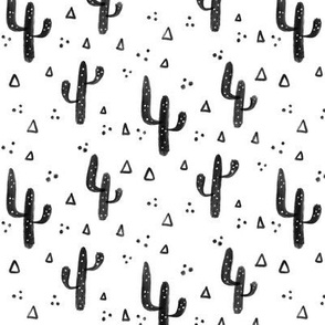 Black and white cactus small pattern