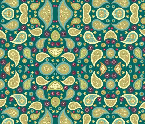 Paisley Teal fabric by floramoon on Spoonflower - custom fabric