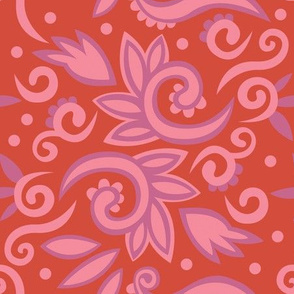 summer leaves – soft pink, orange, purple