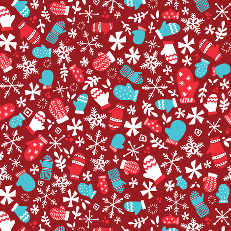 Mitten Montage Petite - Deep Berry Red + White + Blue - winter holiday Christmas Snowflakes fabric by tonia_dee on Spoonflower - custom fabric