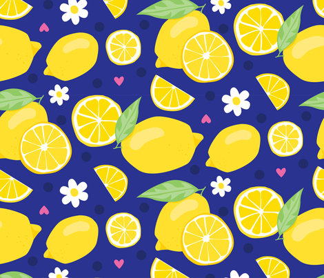 Fresh Lemons fabric by lisa_kubenez on Spoonflower - custom fabric