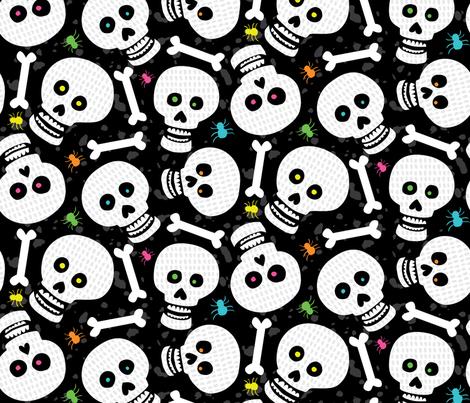 Spooky Skulls fabric by lisa_kubenez on Spoonflower - custom fabric