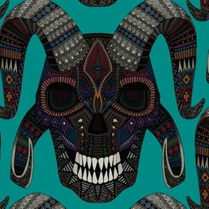demon skull teal