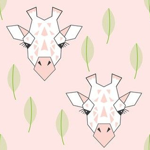 giraffe-and-leaves-on-soft-pink