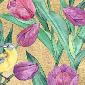 Blue Headed Wagtail in the Tulips Large Print