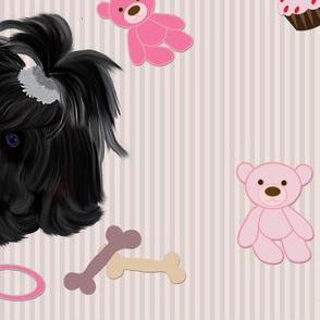 "Shihtzu - Black w/ bears & toys - 5"""