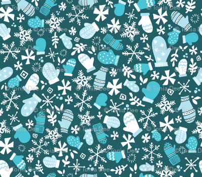 Mitten Montage- Petite - Deep Blue Frost + White- winter holiday Christmas Snowflakes