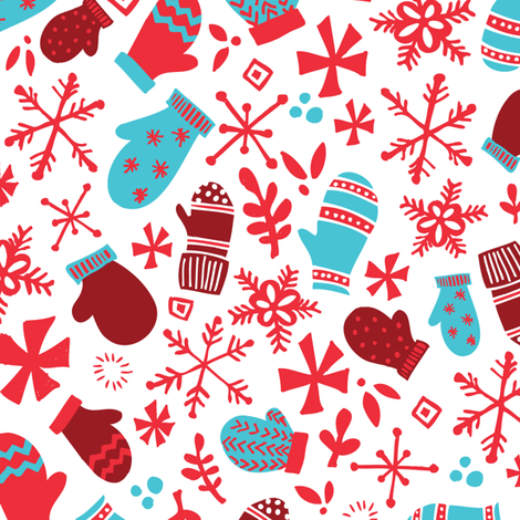 Mitten Montage - Large - White Snow + Red + Blue - winter holiday Christmas Snowflakes holly  fabric by tonia_dee on Spoonflower - custom fabric