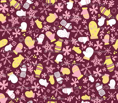 Mitten Montage // Sugar Plum Fairy Pink Maroon
