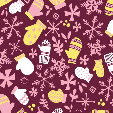 Mitten Montage // Sugar Plum Fairy Pink Maroon  fabric by tonia_dee on Spoonflower - custom fabric