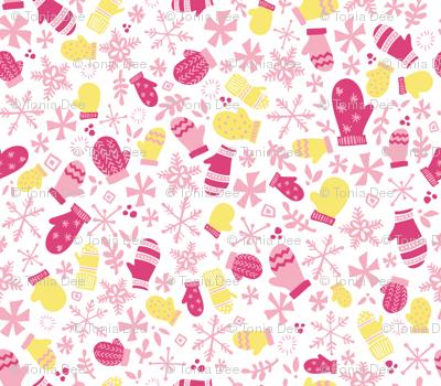 Mitten Montage // Sugar Plum Fairy Pink White Yellow