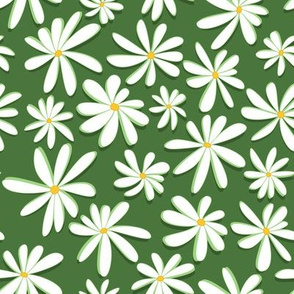 Crazy Daisies 3D on Forest Green