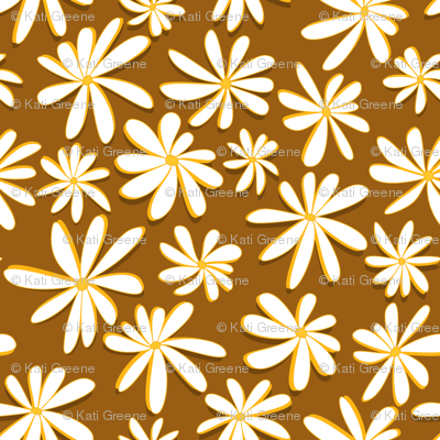 Crazy Daisies 3D on Mustard Yellow