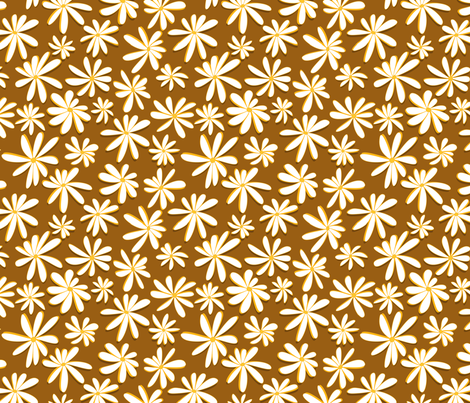 Crazy Daisies 3D on Mustard Yellow fabric by sharks_and_bunnies on Spoonflower - custom fabric