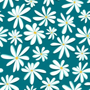 Crazy Daisies 3D on Teal
