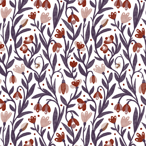Red Snowdrop fabric by baileyknudsen on Spoonflower - custom fabric
