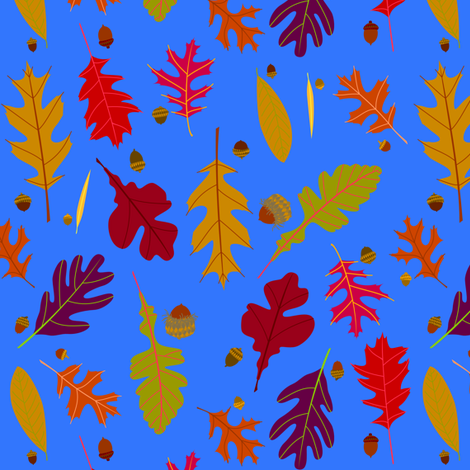 Autumn Oak Leaves and Acorns fabric by 13sparrows on Spoonflower - custom fabric
