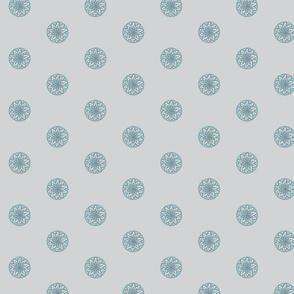 Grey turquoise snow flower