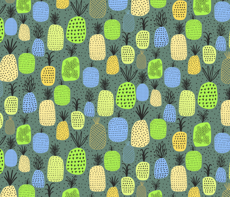 Pineapples Lime fabric by zoe_ingram on Spoonflower - custom fabric